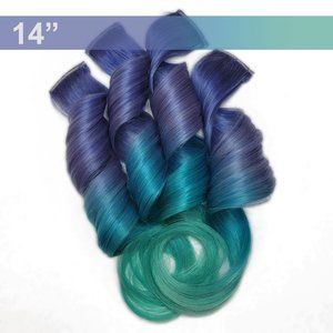 Periwinkle Mint Rainbow Real Human Hair Extensions Clip in Pastel Colored Ombre